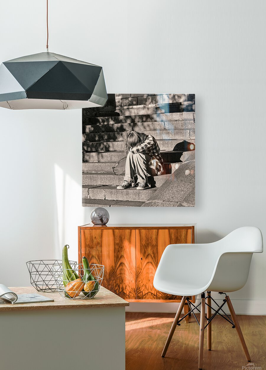 Urban Loneliness - Crying  HD Metal print with Floating Frame on Back