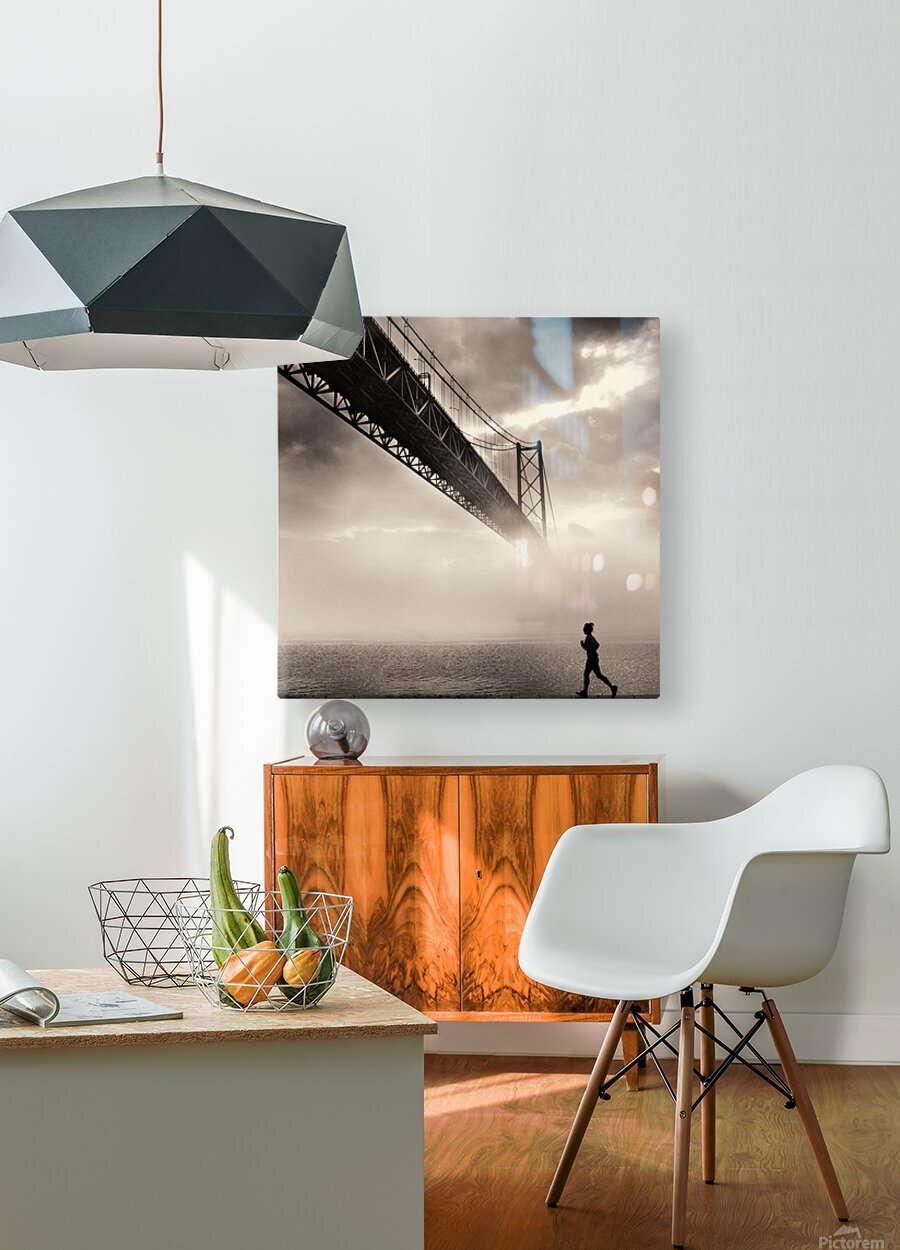 Urban Loneliness - The Bridge  HD Metal print with Floating Frame on Back