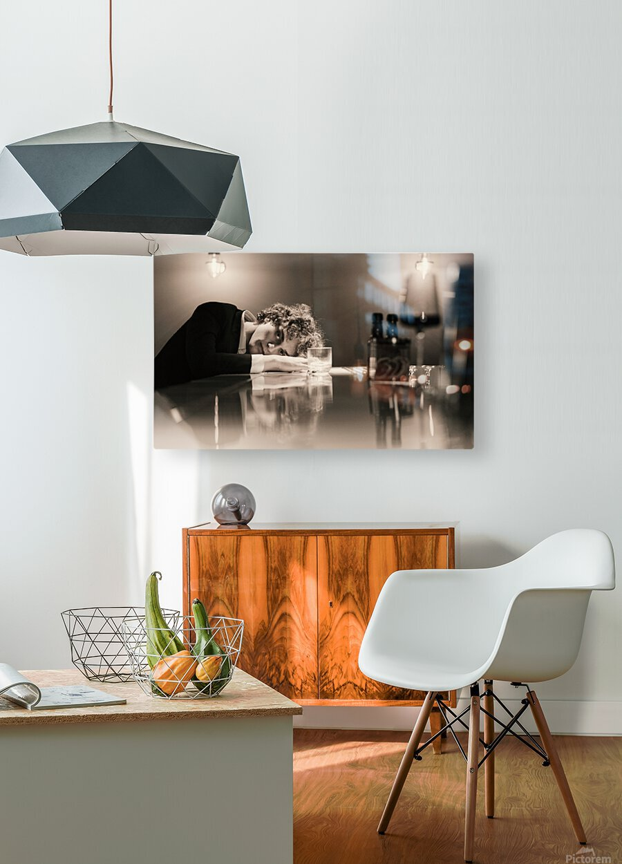 Urban Loneliness - A Lonely Evening  HD Metal print with Floating Frame on Back