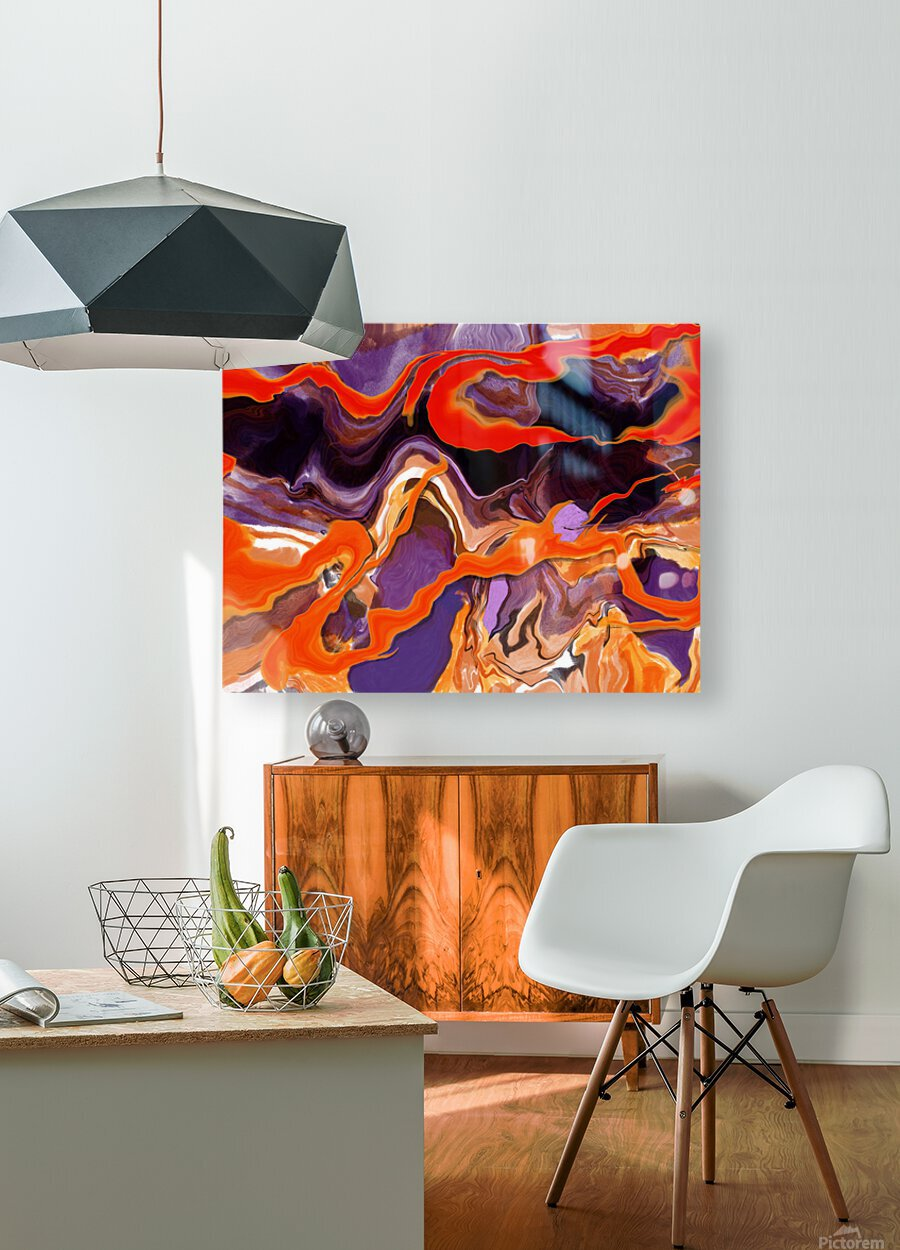 Flaming Paint Pour  HD Metal print with Floating Frame on Back