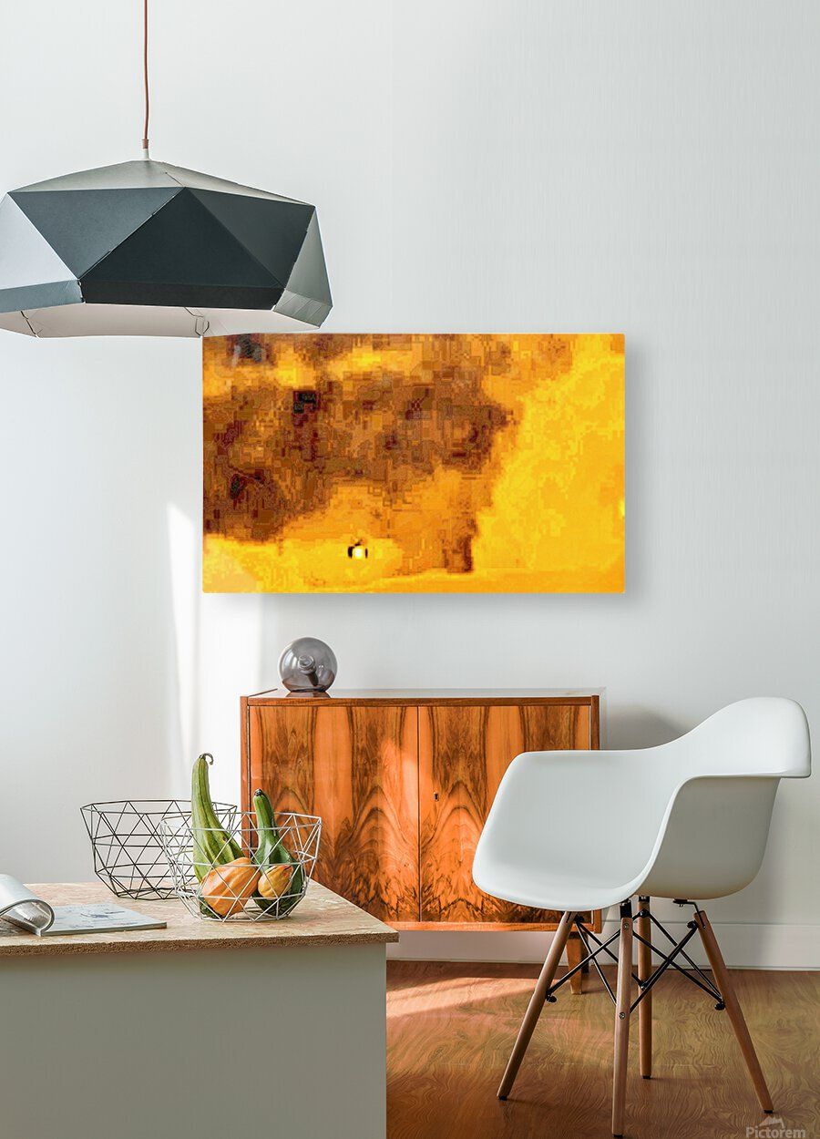 Golden Hieroglyphic  HD Metal print with Floating Frame on Back