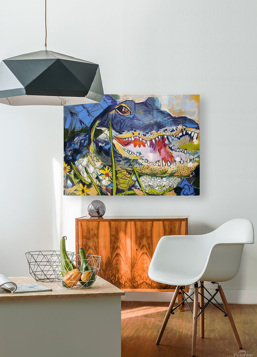 Louisiana Alligator with Wildflowers  HD Metal print with Floating Frame on Back