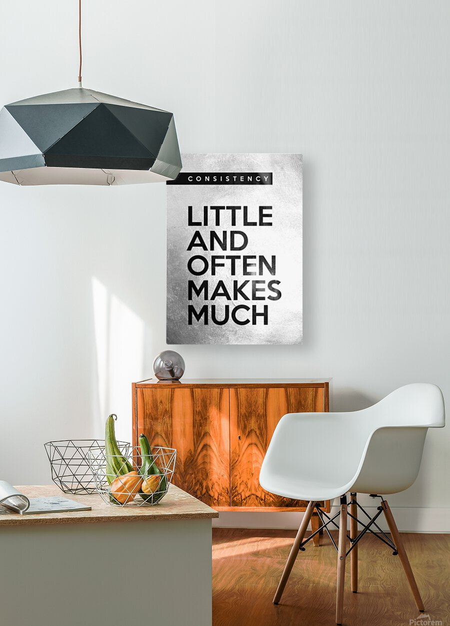 little and often Motivational Wall Art  HD Metal print with Floating Frame on Back