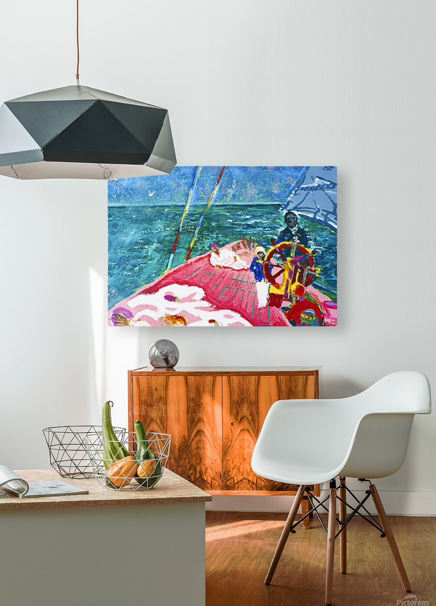 At the Wheel of The Sea Ray  HD Metal print with Floating Frame on Back