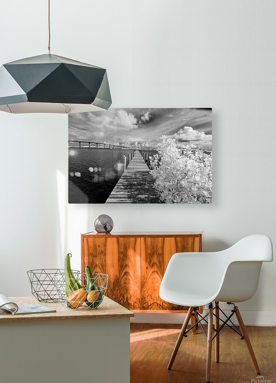 Wabasso Causeway Florida with boat dock  HD Metal print with Floating Frame on Back