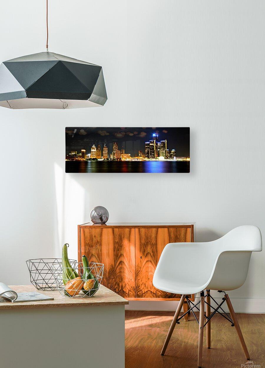 Detroit Skyline  HD Metal print with Floating Frame on Back