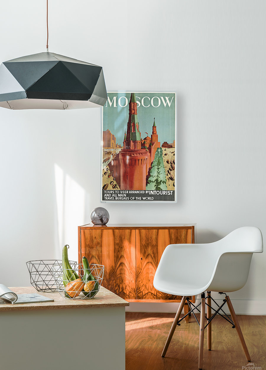 Moscow Vintage Travel Poster  HD Metal print with Floating Frame on Back