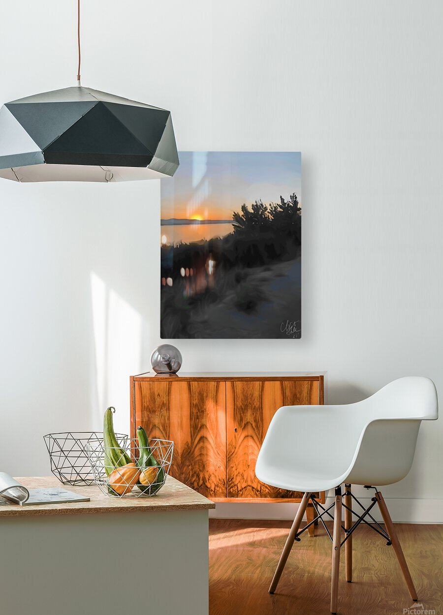 Sunset Over Lake  HD Metal print with Floating Frame on Back