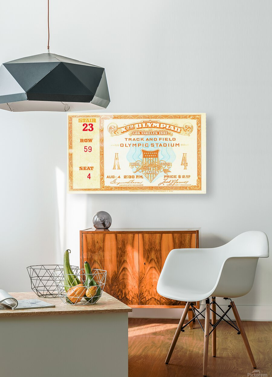 1932 Olympic Track and Field Ticket Stub Art  HD Metal print with Floating Frame on Back