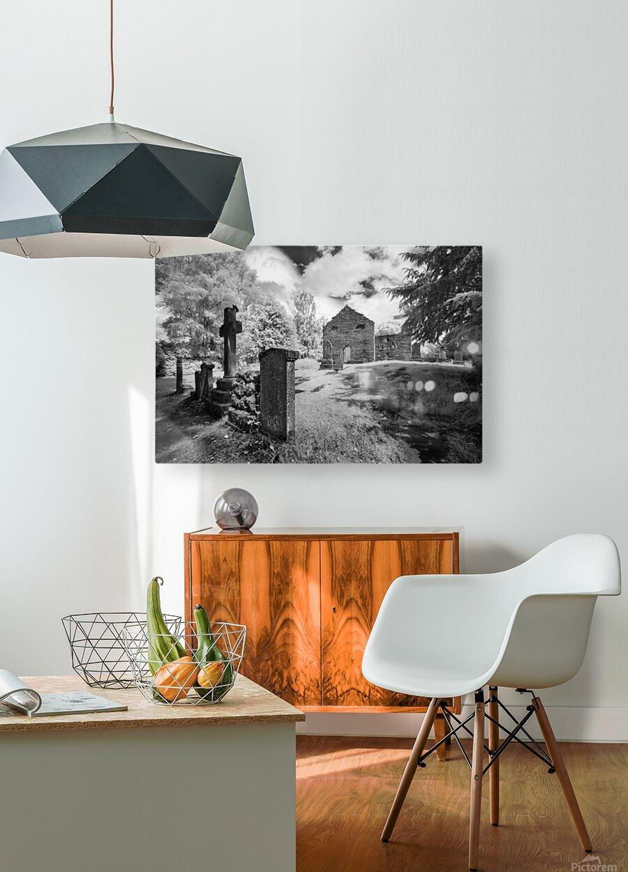 Infrared Scotland graveyard  HD Metal print with Floating Frame on Back
