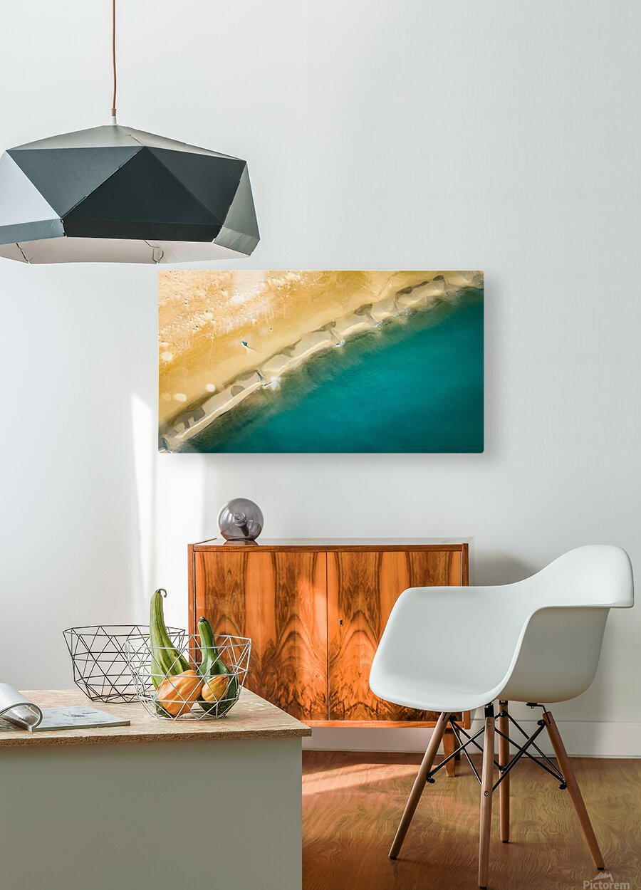 dronebeach1  HD Metal print with Floating Frame on Back