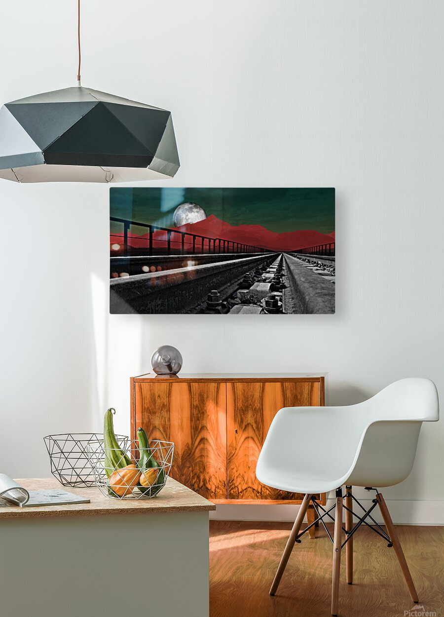 Railroad   HD Metal print with Floating Frame on Back