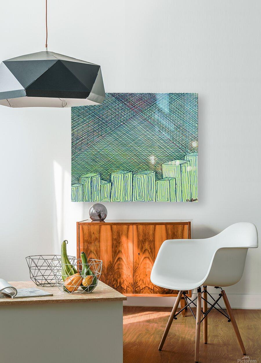 Greenblocks  HD Metal print with Floating Frame on Back