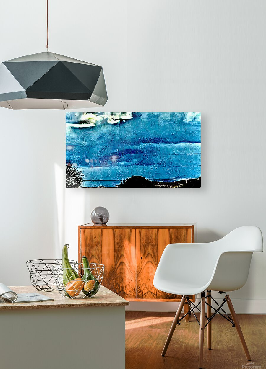 Blue Magnetic Wall  HD Metal print with Floating Frame on Back