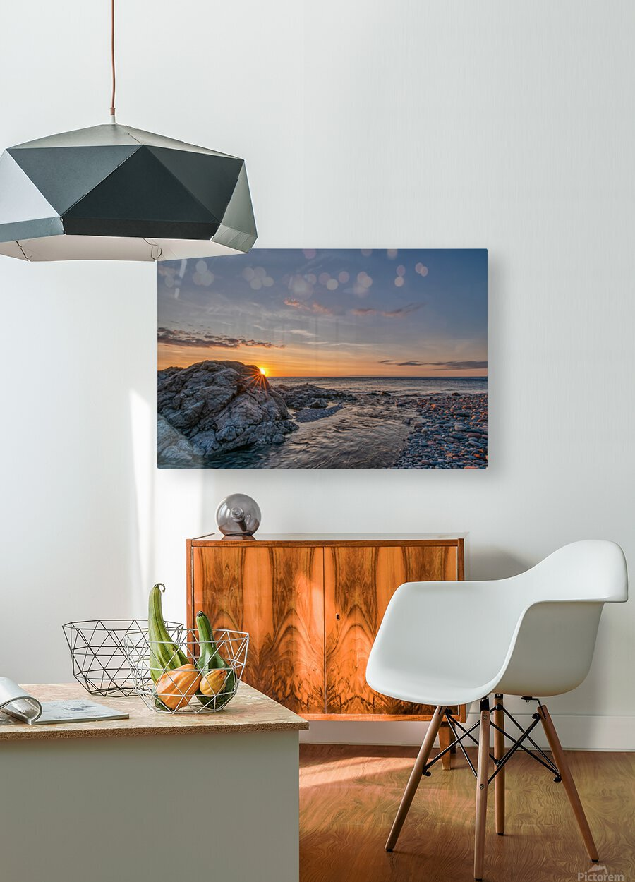 Rocks sun and water  HD Metal print with Floating Frame on Back
