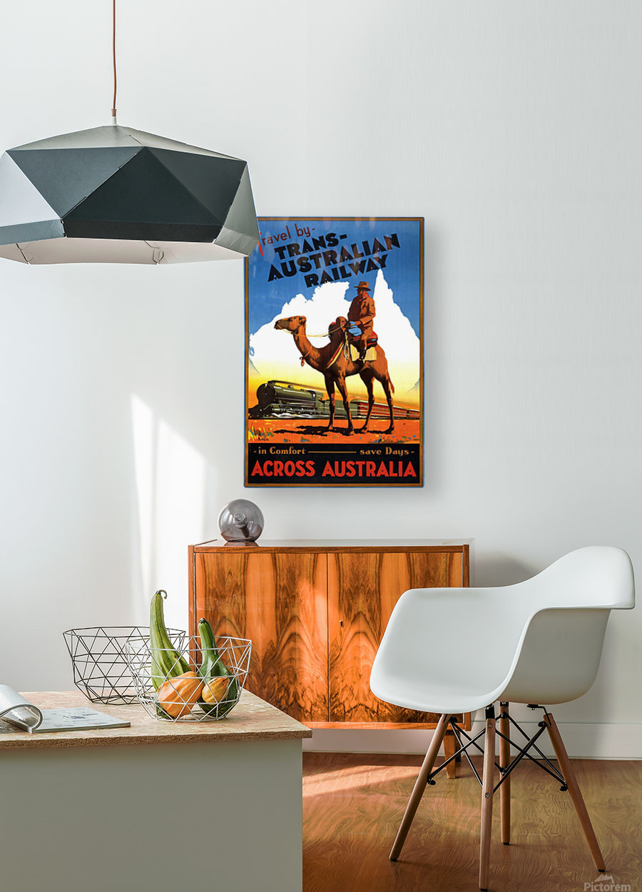 Trans Australian Railway travel poster  HD Metal print with Floating Frame on Back