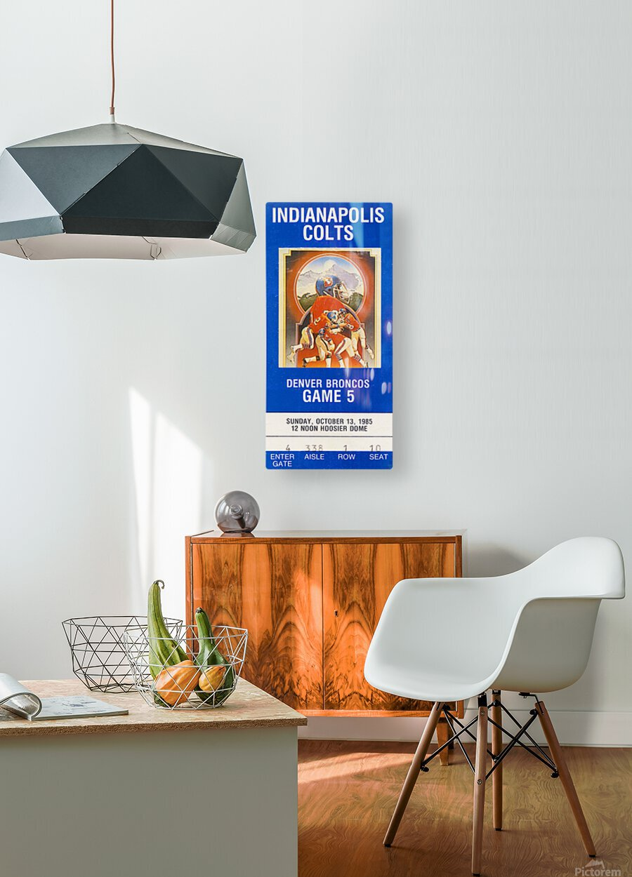 1985 Denver Broncos vs. Indianapolis Colts | Row 1  HD Metal print with Floating Frame on Back