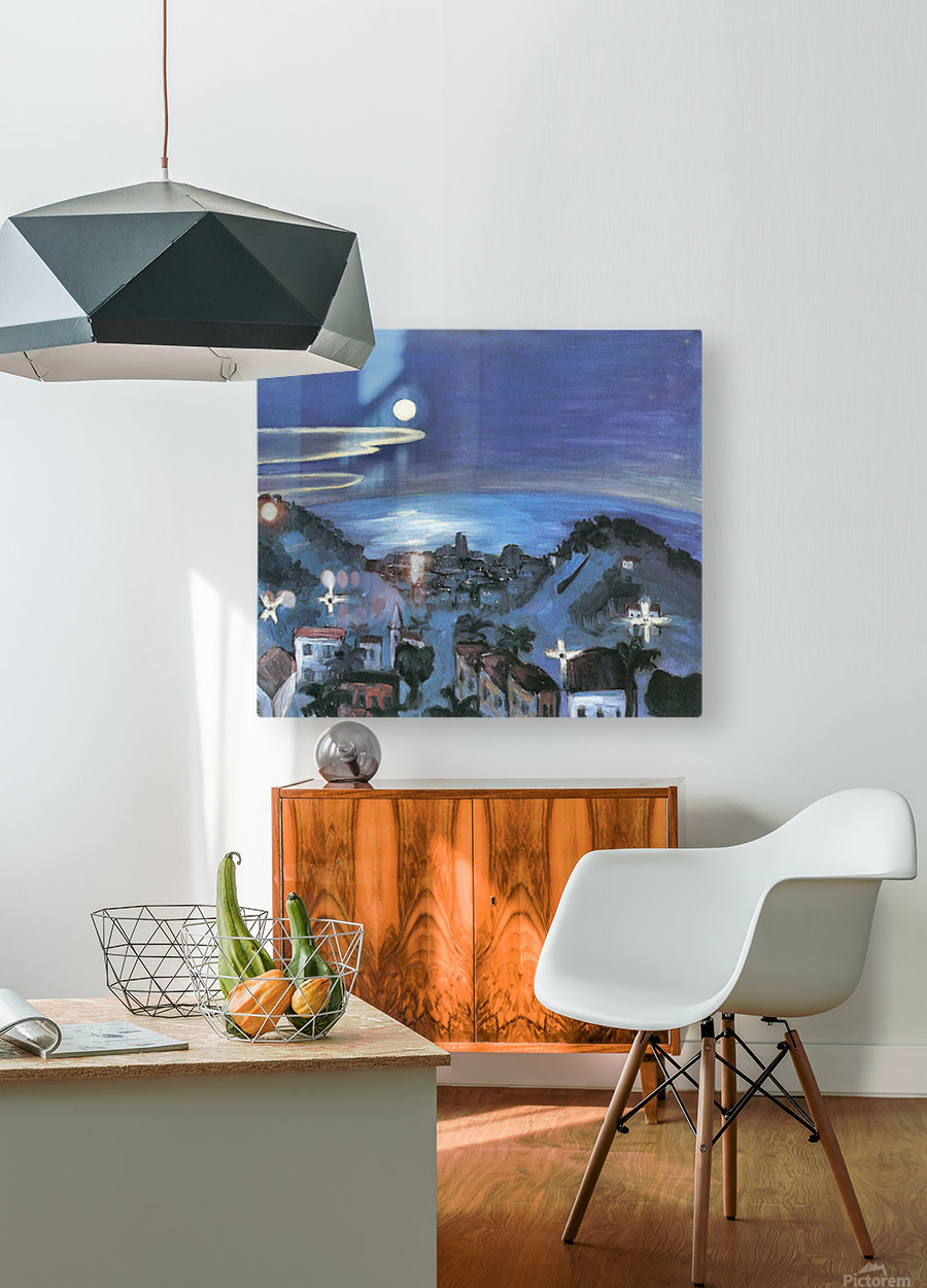 Barcelona (view of the city by night) by Walter Gramatte  HD Metal print with Floating Frame on Back