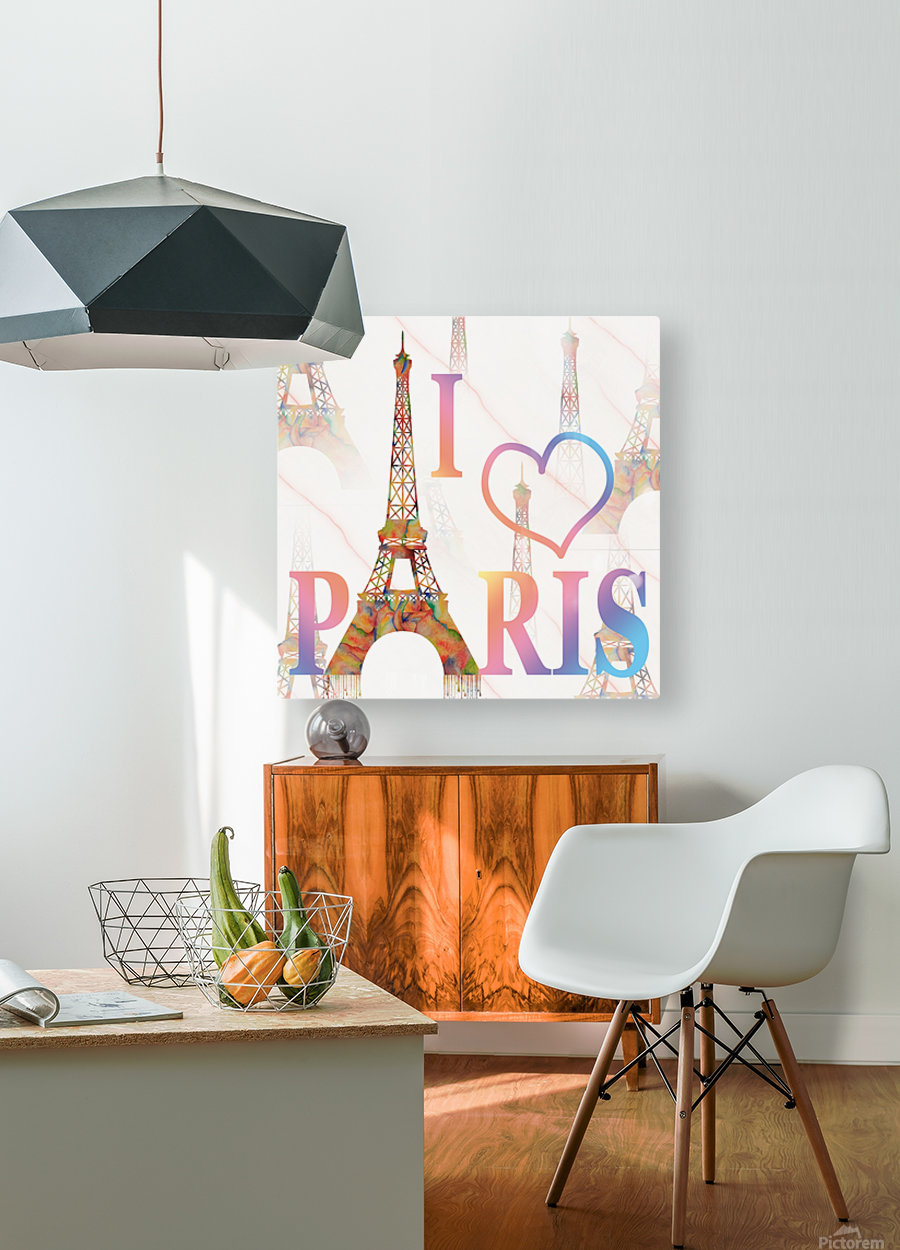 I LOVE PARIS  HD Metal print with Floating Frame on Back