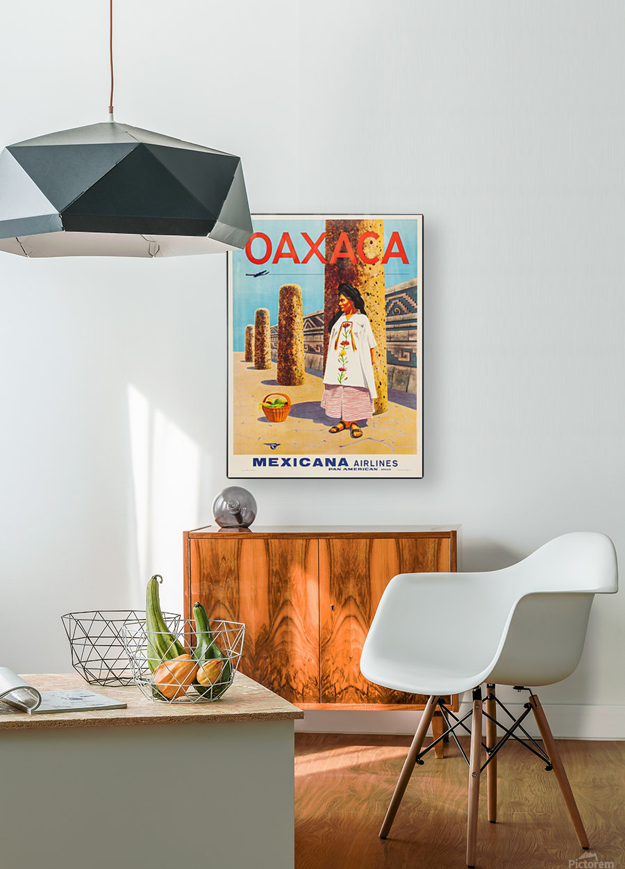 Mexicana Airlines Oaxaca travel poster  HD Metal print with Floating Frame on Back