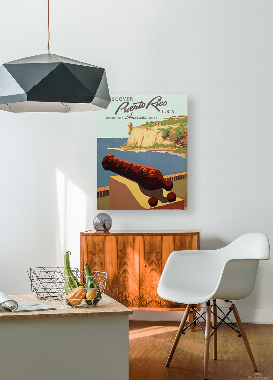 Discover Puerto Rico USA travel poster  HD Metal print with Floating Frame on Back