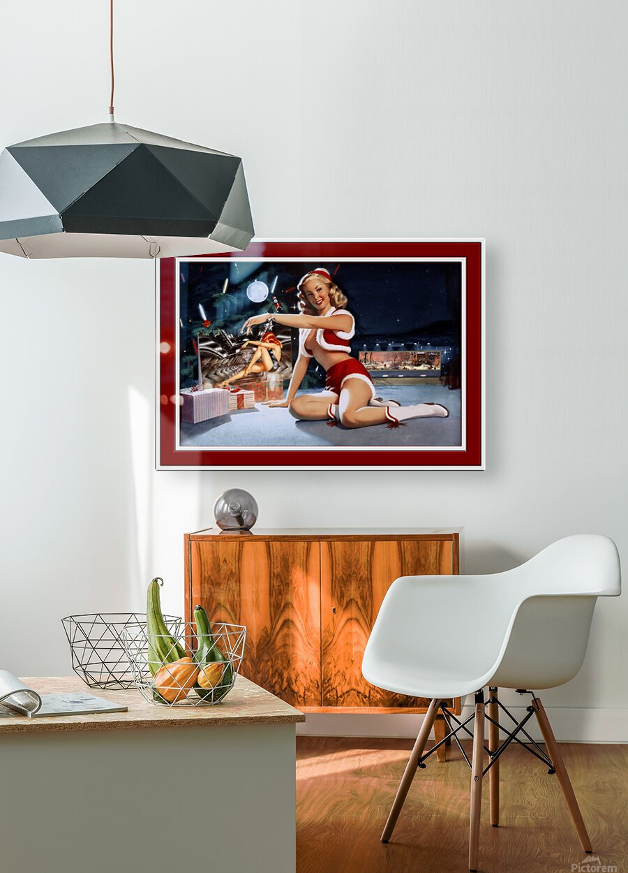 Christmas Pinup by Bill Medcalf Art Old Masters Xzendor7 Reproductions  HD Metal print with Floating Frame on Back