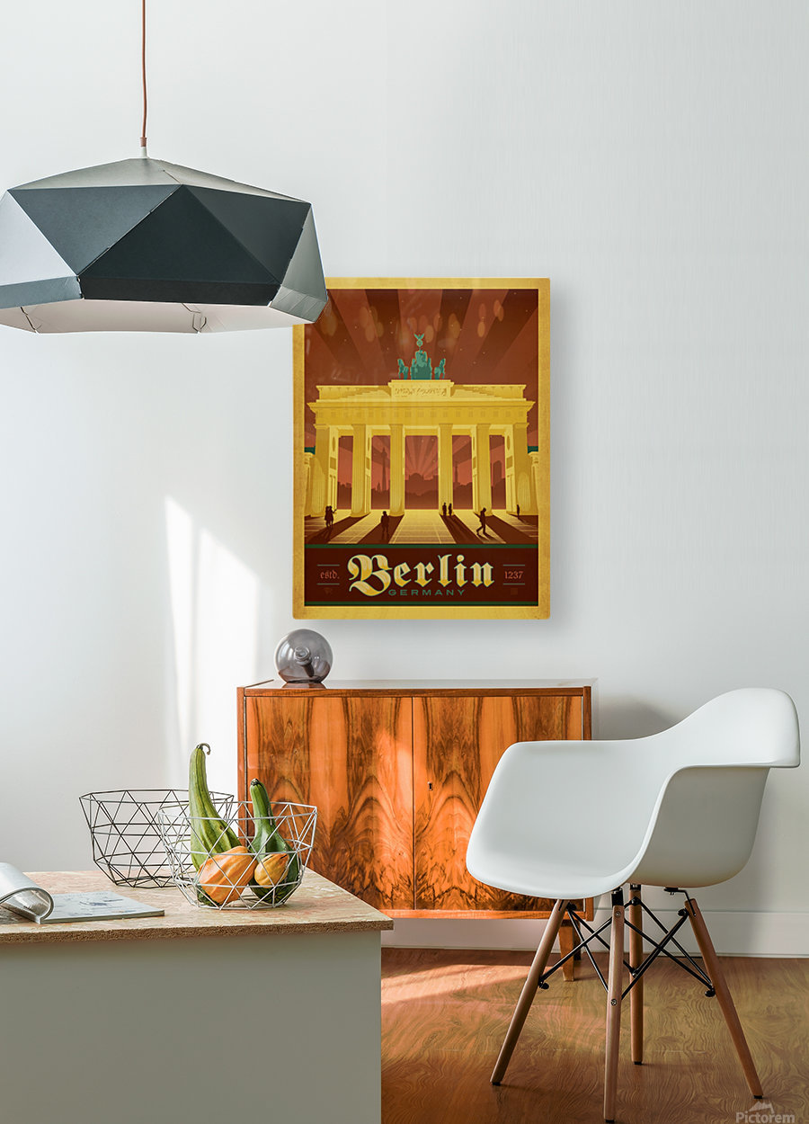 Berlin Germany travel poster  HD Metal print with Floating Frame on Back