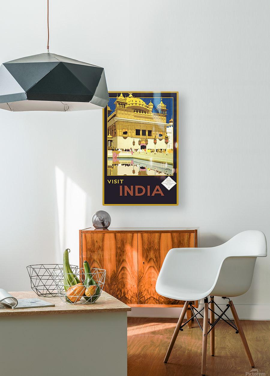 Visit India vintage travel poster  HD Metal print with Floating Frame on Back
