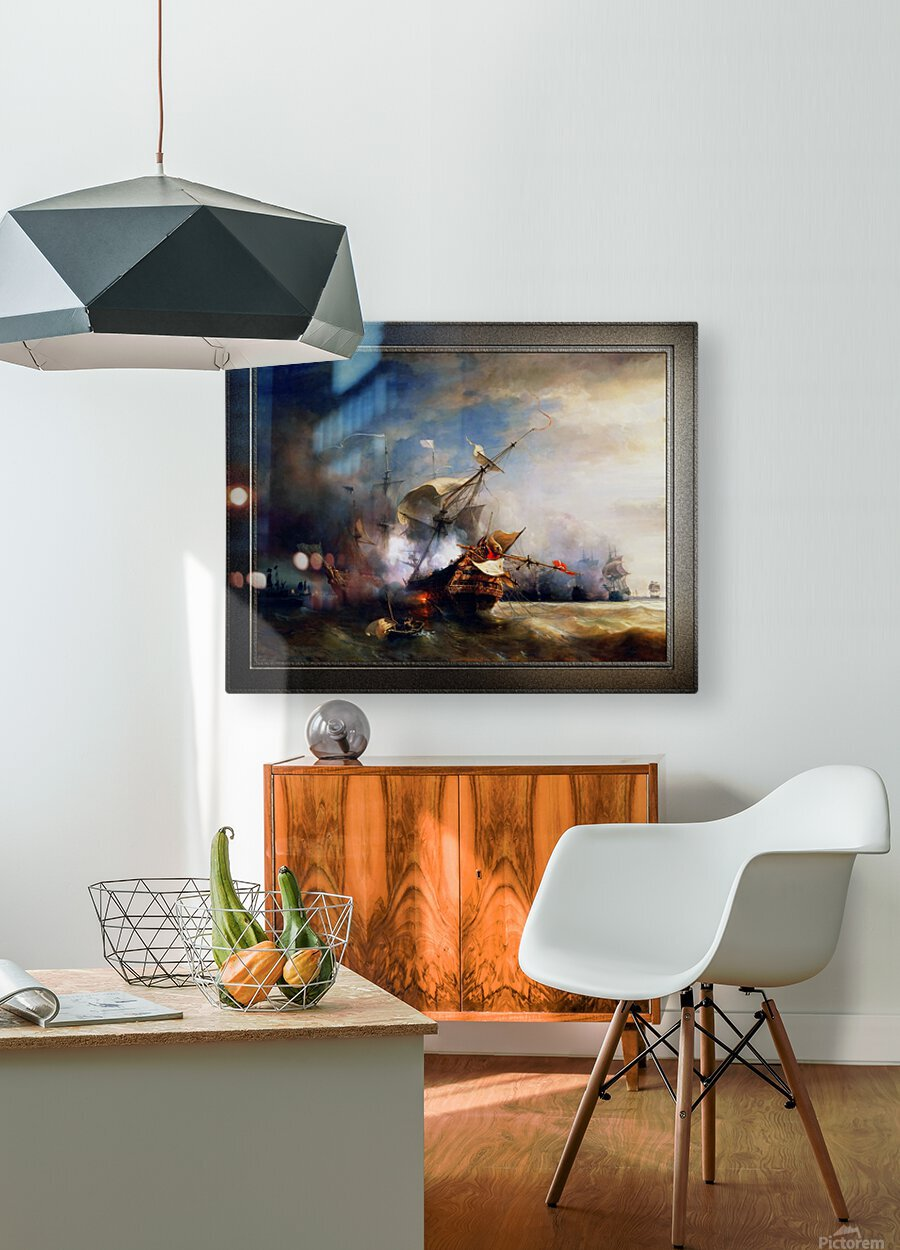 Battle of Cape Lizard in 1707 by Jean Antoine Theodore Gudin Classical Fine Art Xzendor7 Old Masters Reproductions  HD Metal print with Floating Frame on Back
