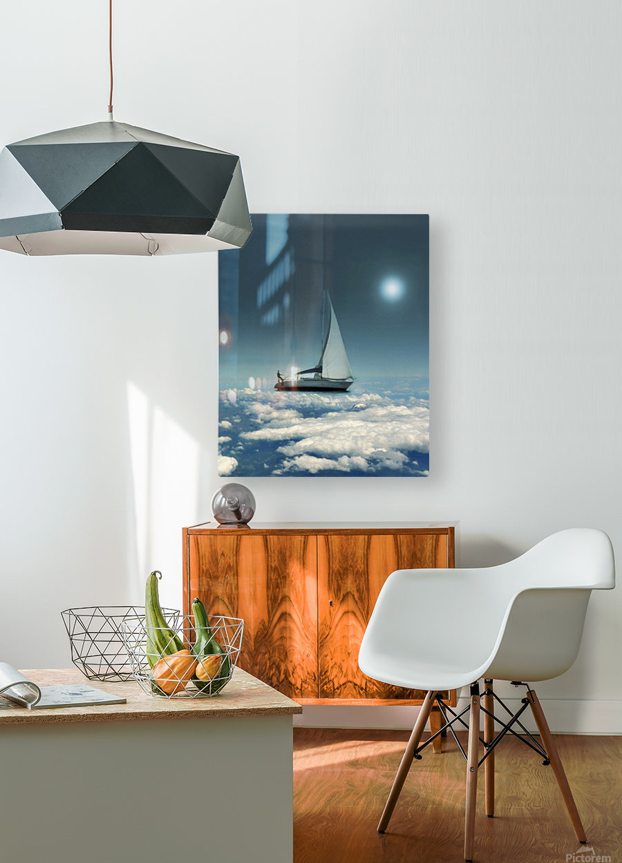 Navigating Trough Clouds Fantasy Collage Photo  HD Metal print with Floating Frame on Back