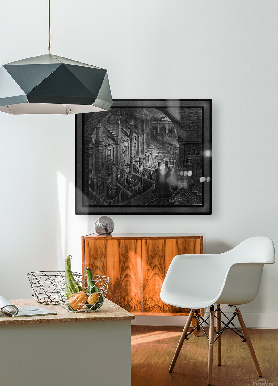 Over London by Rail by Gustave Dore Classical Fine Art Xzendor7 Old Masters Reproductions  HD Metal print with Floating Frame on Back