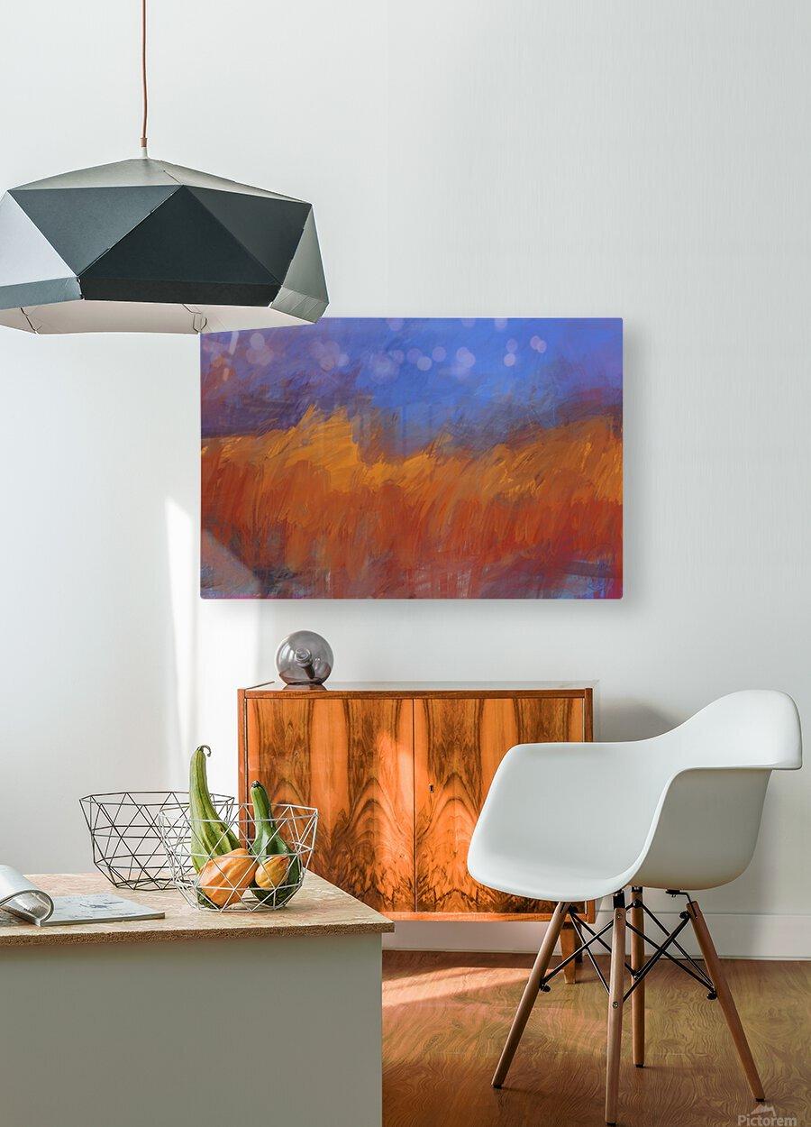 Orange and Blue Landscape  HD Metal print with Floating Frame on Back