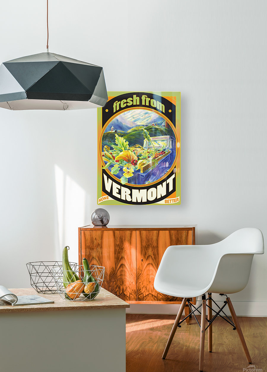 Faux Vintage Fresh from Vermont Travel Poster  HD Metal print with Floating Frame on Back