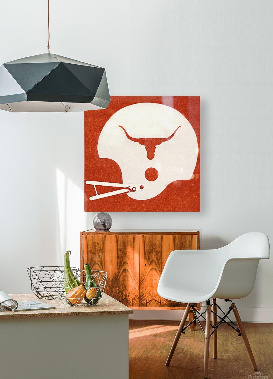 1983 Texas Longhorn Football Helmet Art Brushed Metal Sign  HD Metal print with Floating Frame on Back