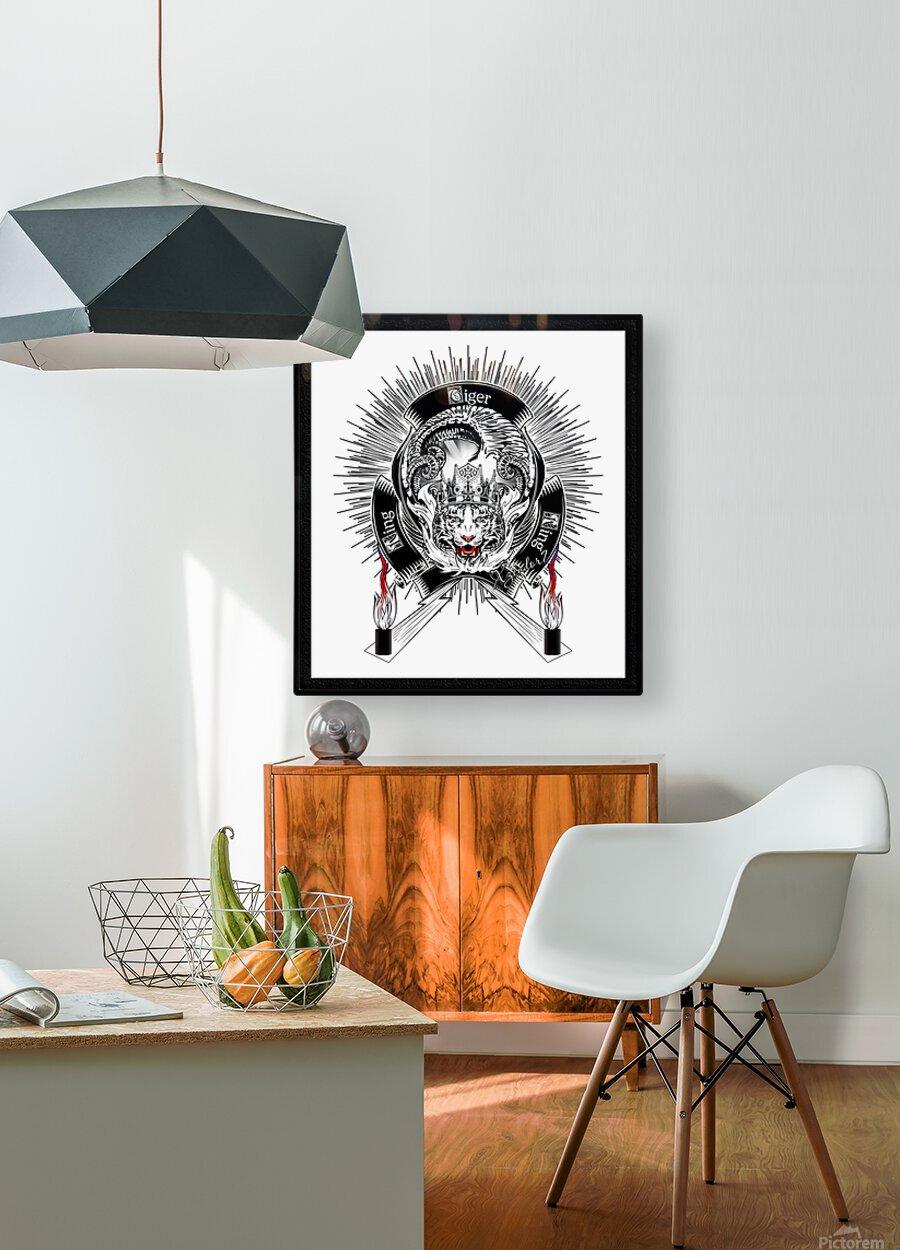 White Tiger King Tiger Art Emblem by Xzendor7  HD Metal print with Floating Frame on Back