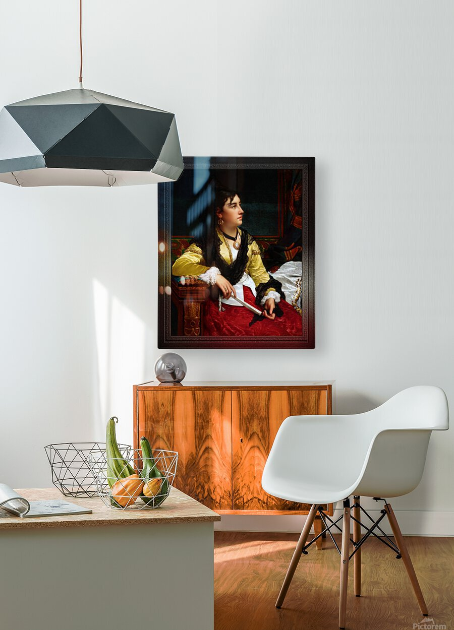 Portrait Of A Noblewoman Holding A Fan by Jan Frederik Pieter Portielje Classical Fine Art Xzendor7 Old Masters Reproductions  HD Metal print with Floating Frame on Back