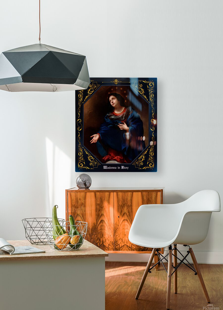 Madonna in Glory by Carlo Dolci Blue Gold Border Xzendor7 Old Master Art Reproductions  HD Metal print with Floating Frame on Back