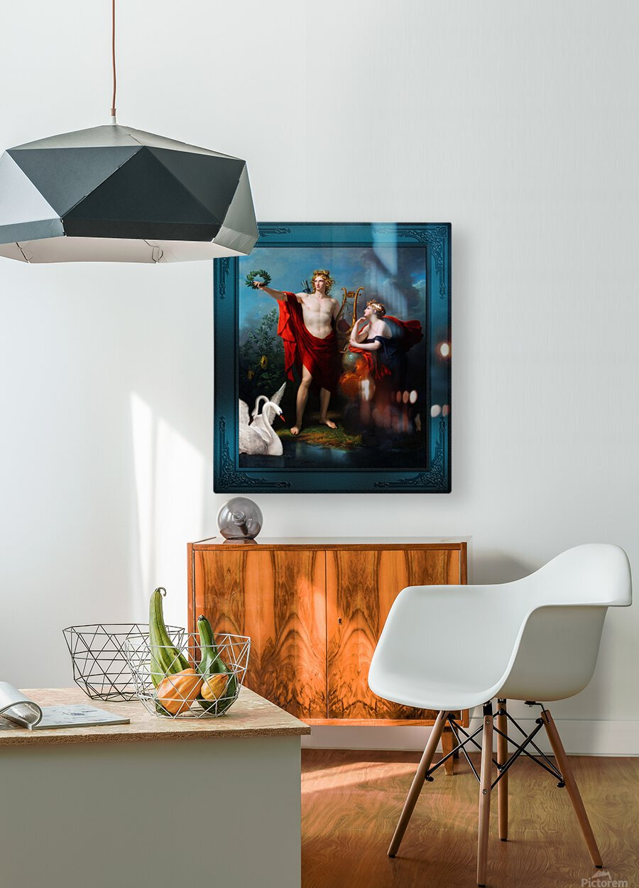 Apollo God of Light with Urania Muse of Astronomy by Charles Meynier Classical Fine Art Xzendor7 Old Masters Reproductions  HD Metal print with Floating Frame on Back