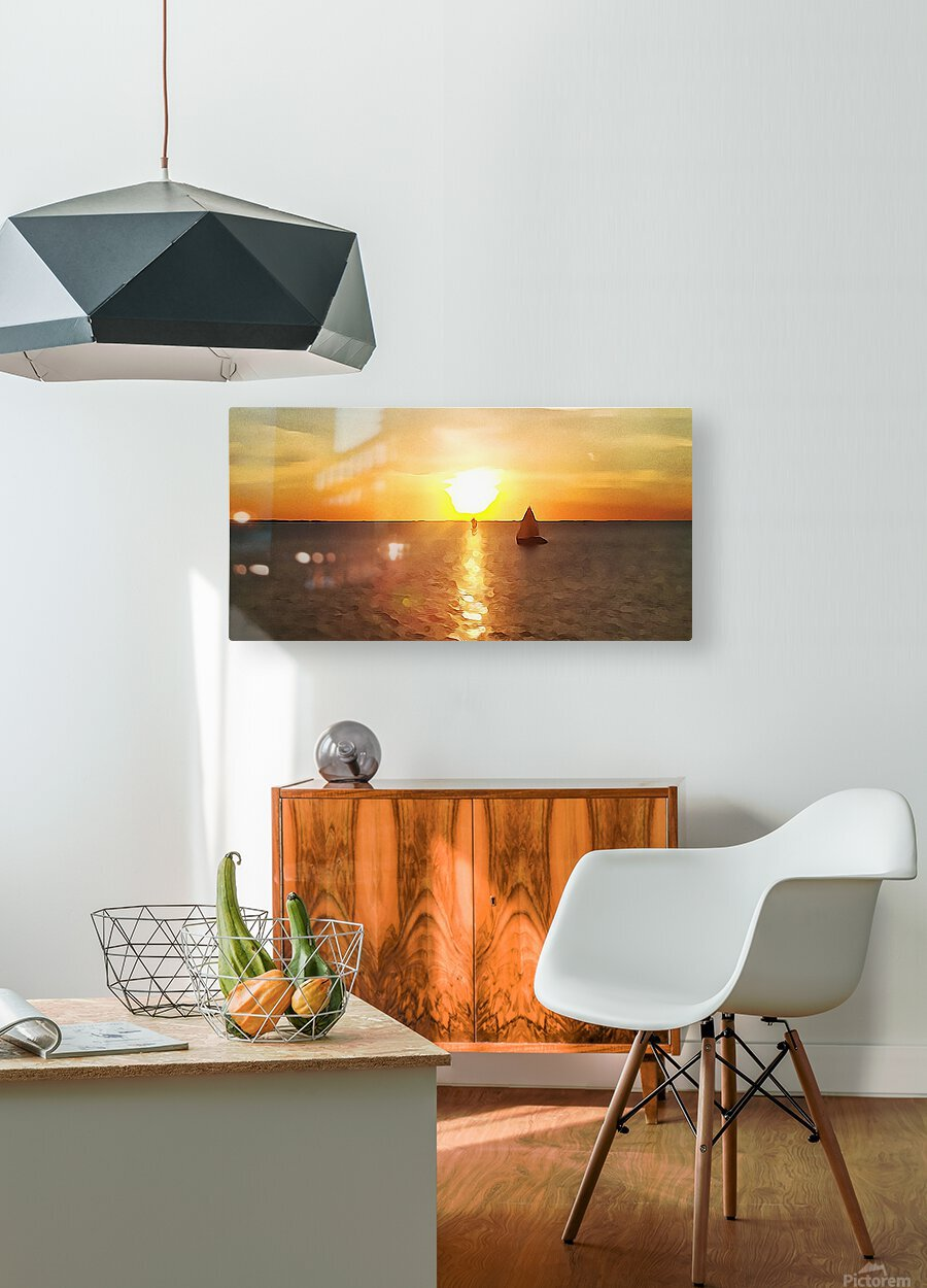 Pierce Anderson Sail Boats Art  HD Metal print with Floating Frame on Back