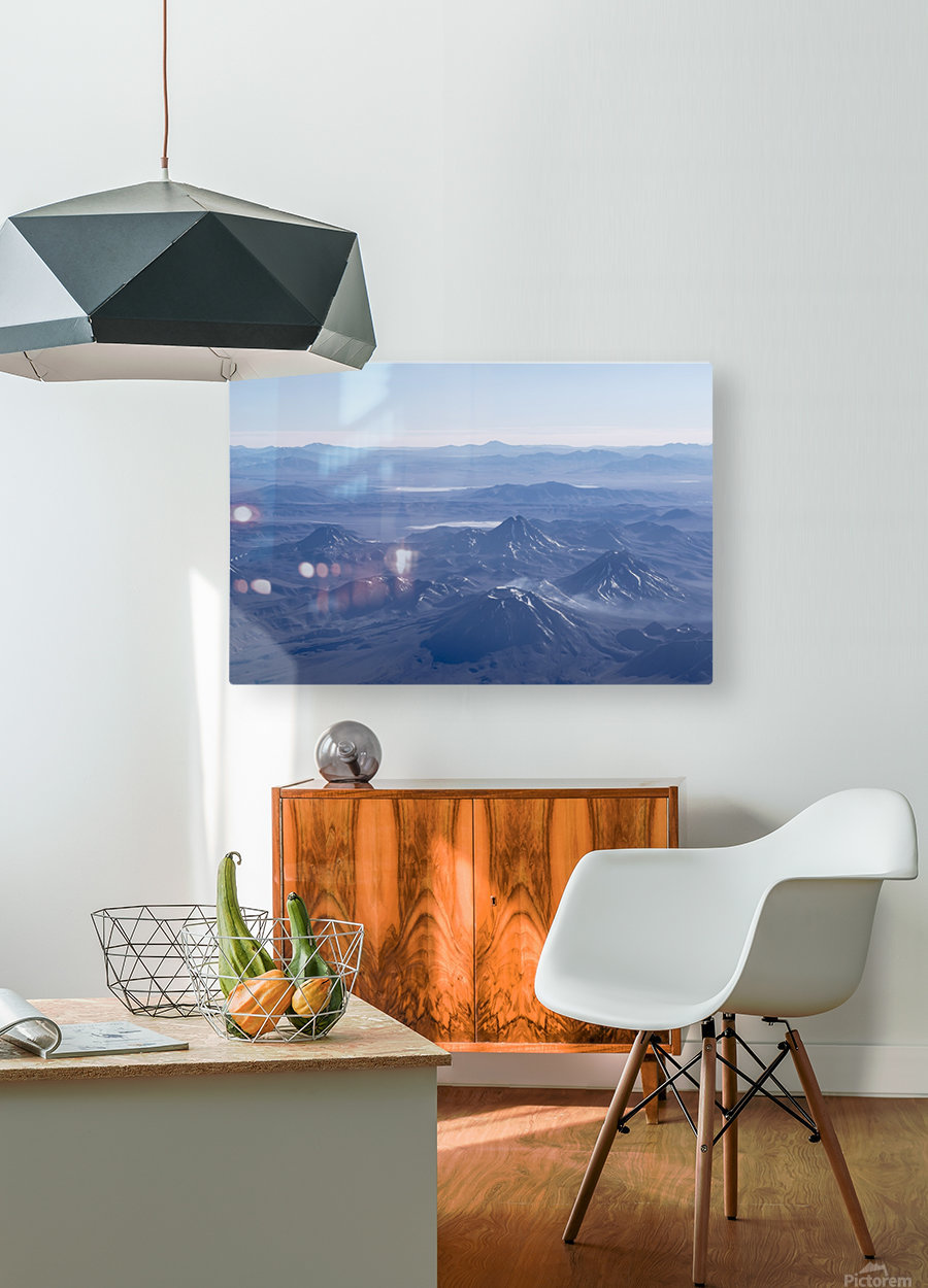Window Plane View of Andes Mountains  HD Metal print with Floating Frame on Back