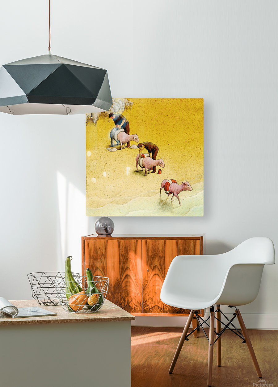 Sheep  HD Metal print with Floating Frame on Back