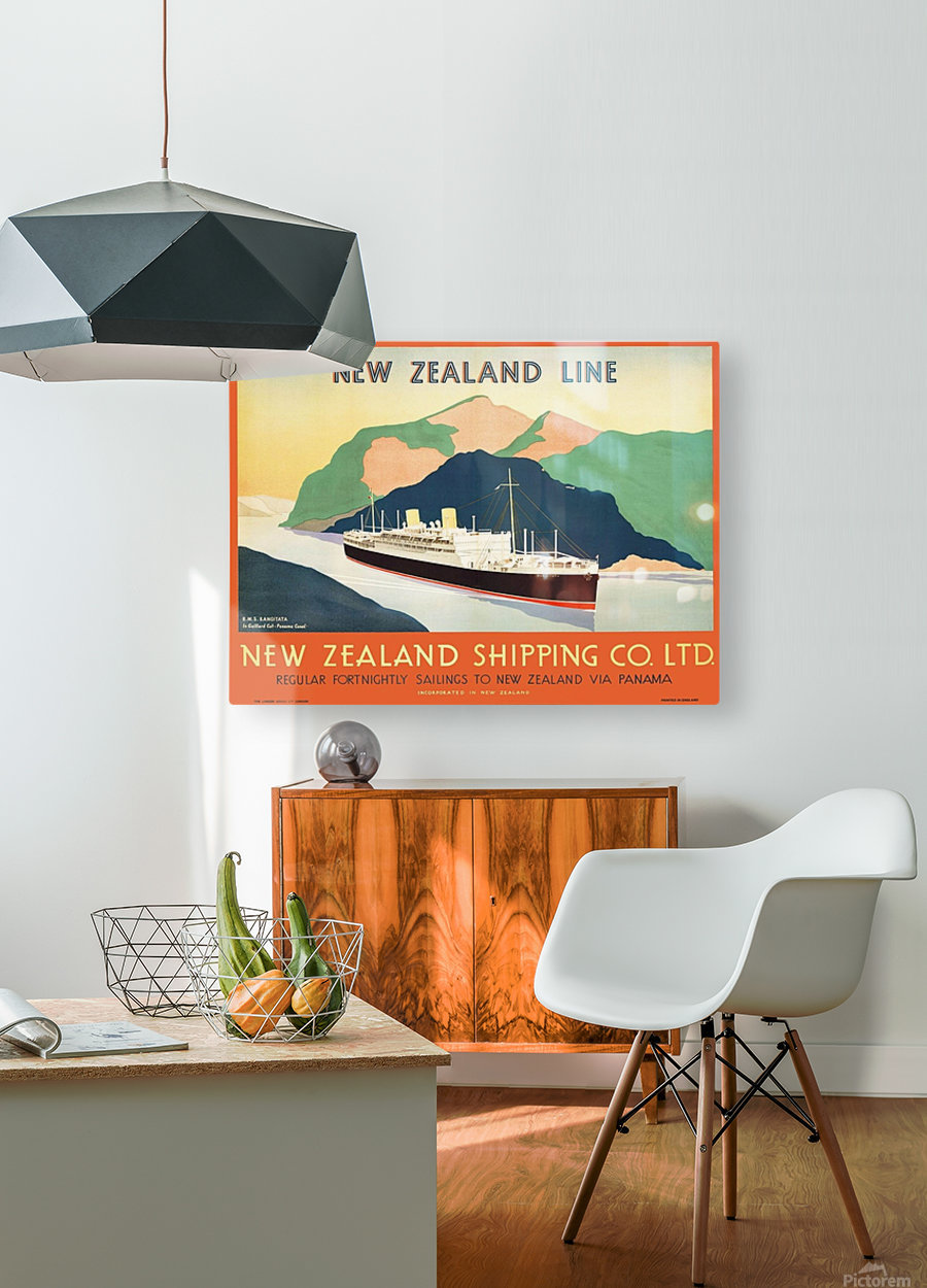 Vintage travel advert for transport to New Zealand via Panama  HD Metal print with Floating Frame on Back