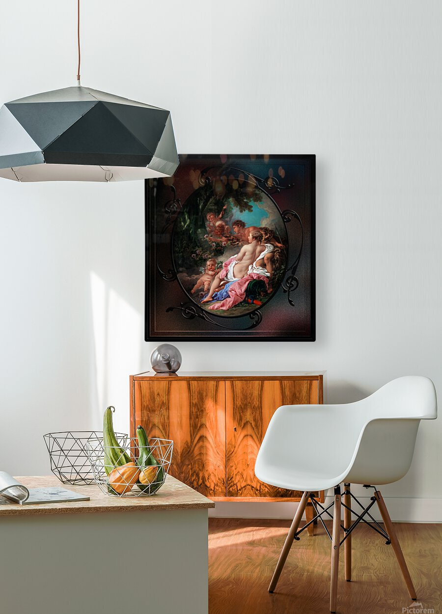 Angelica and Medoro by Francois Boucher Classical Fine Art Xzendor7 Old Masters Reproductions  HD Metal print with Floating Frame on Back
