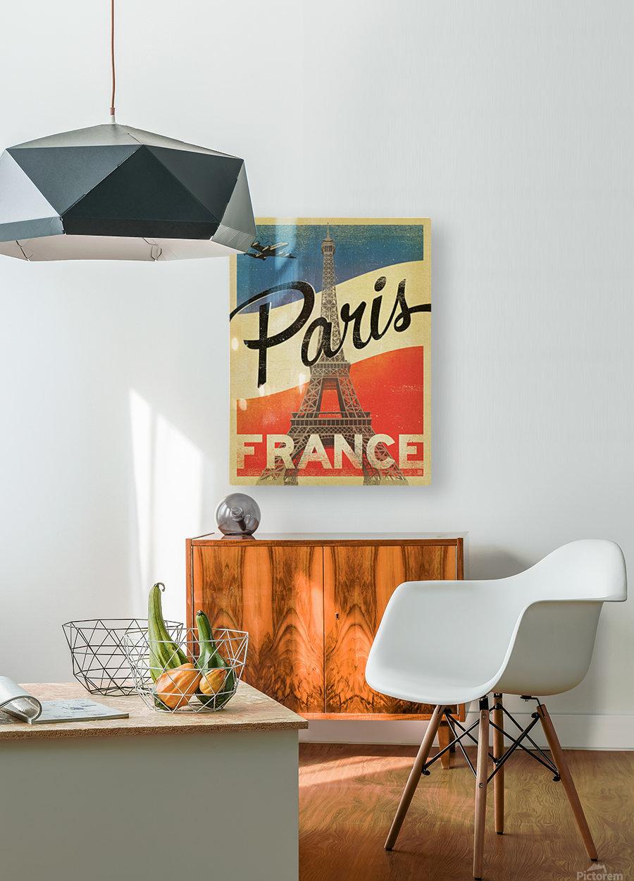 Paris France Vintage Poster  HD Metal print with Floating Frame on Back