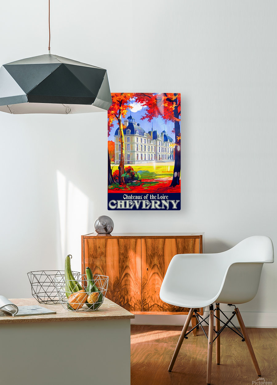Chateaux of the Loire Cheverny travel poster  HD Metal print with Floating Frame on Back