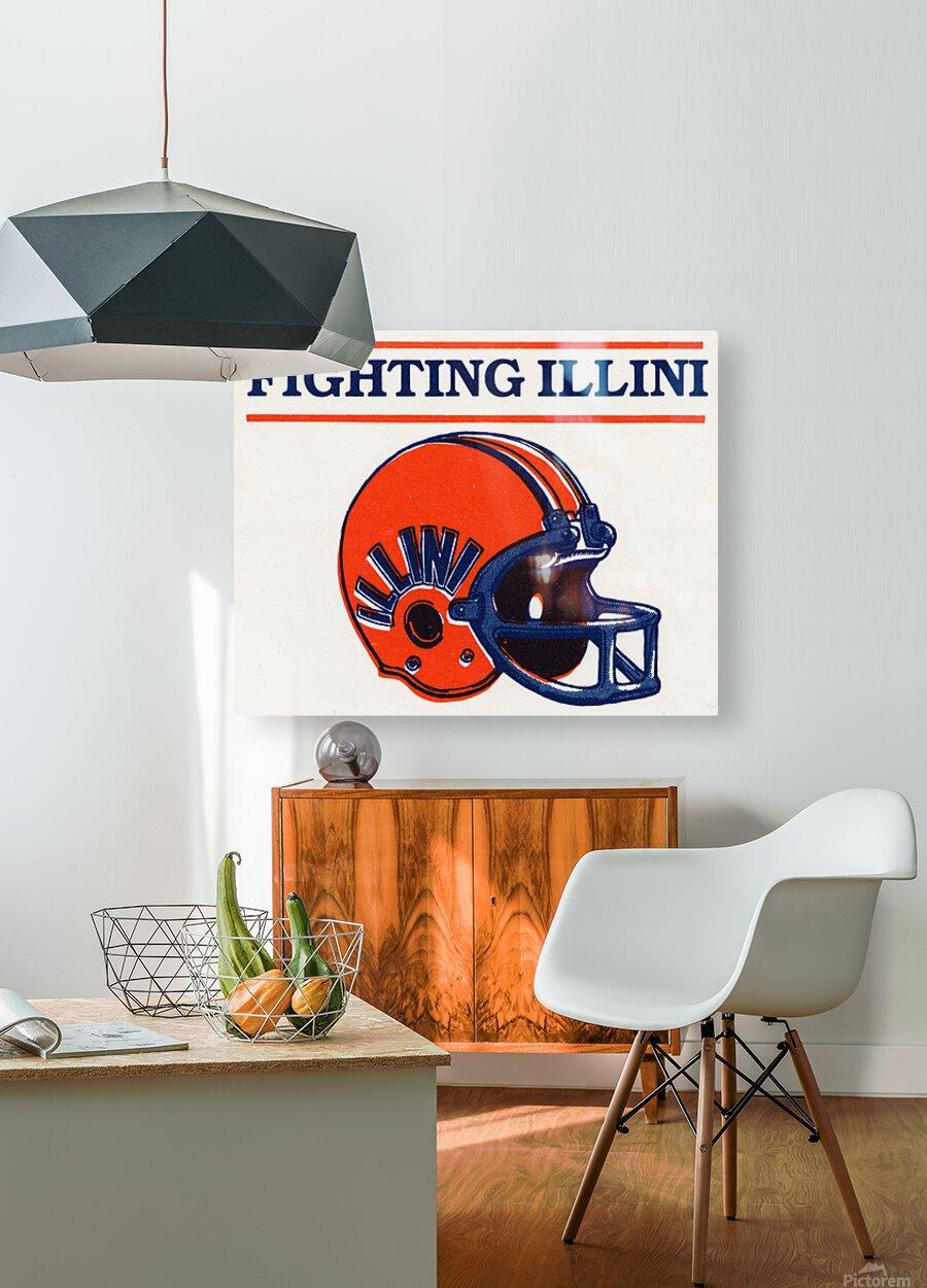 Retro Illinois Football Helmet Art  HD Metal print with Floating Frame on Back