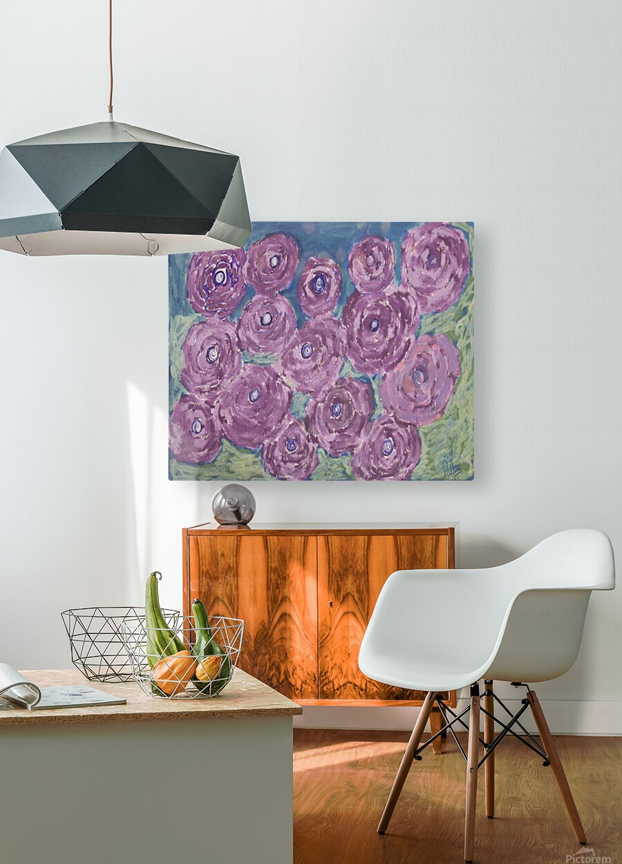 Purple flowers  HD Metal print with Floating Frame on Back