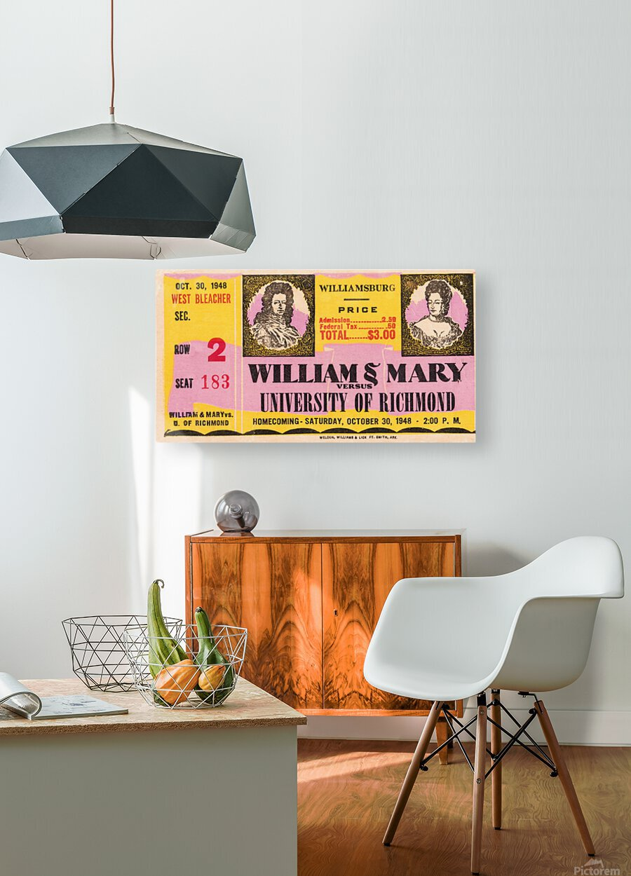 1948 William and Mary vs. Richmond  HD Metal print with Floating Frame on Back