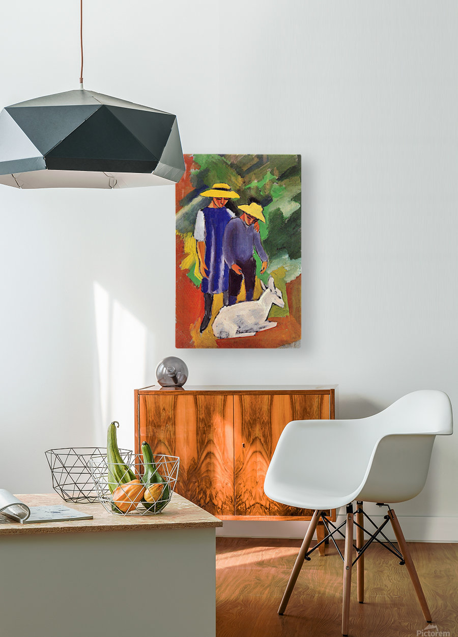 Children with goat by August Macke  HD Metal print with Floating Frame on Back