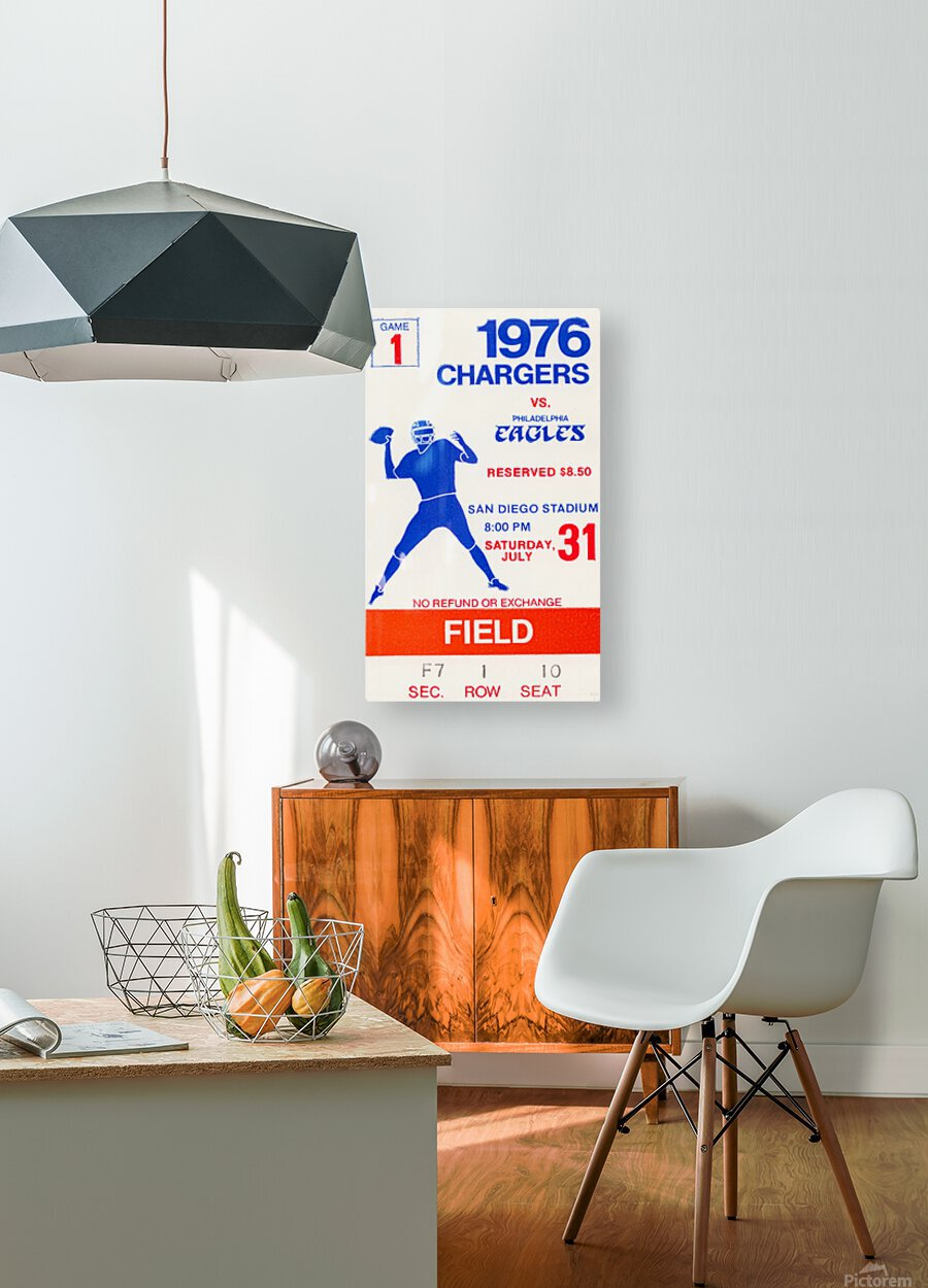 1976 San Diego Chargers vs. Philadelphia Eagles  HD Metal print with Floating Frame on Back